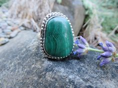 Malachite statement ring with silver bead around the stone...size 7 3/4, #354 by Sandy River Jewelry