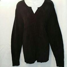 Carolyn Taylor Black front braided design Sweater Black velour feel Sweater with front braided design. Long sleeves. Carolyn Taylor  Sweaters V-Necks