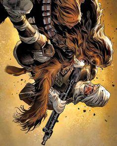 Marvel's Star Wars # 11 Features A Cool Dengar/Chewie Cover By Stuart Immonen.  #starwars #marvel #dengar #comics #art #chewbacca #bountyhunter #FLYGUY #twitter #googleplus #StuartImmonen