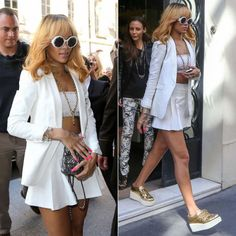 Rihanna in Chanel sunglasses, jewelry, shoes and bag. Rag  Bone blazer.