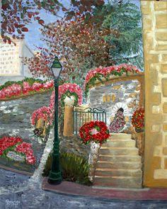 Geïnspireerd door Vincent van Gogh. Dorpje in de Beaujolais, Frankrijk. Olieverf op doek, 40x50 cm, door Annerieke Smits-Vermeulen, 2015.