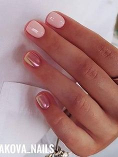 Rose gold nails.