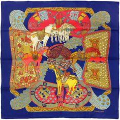 "HERMES SCARF Silk ""Art des Steppes"" by Annie Faivre 90cm Carre 100% Auth"