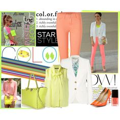 How To Wear Pastel Neon for Spring ! Outfit Idea 2017 - Fashion Trends Ready To Wear For Plus Size, Curvy Women Over 20, 30, 40, 50