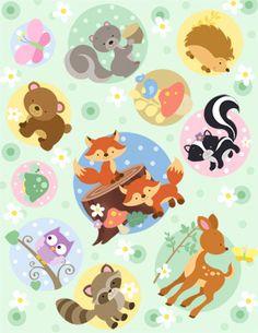 Furry Forest Friends via MuralsYourWay.com