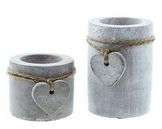 "Moderner Teelichthalter ""Stone-Heart"" im 2er Set"