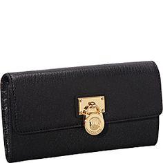 MICHAEL Michael Kors Hamilton 18 K Large Flap Wallet - Black - via eBags.com!