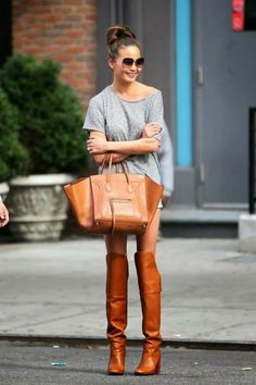 Matchy matchy. Celine bag and over they knee boots. Yep, that works.