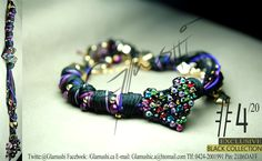 NEW COLLECTION 2012 -  Glamushi BLACK (EXCLUSIVE) Material: GoldField Color: Negro & Morado (Varios tonos) Dije Central: Corazón Swarovsky (Arcoiris) Swarovski : Morado