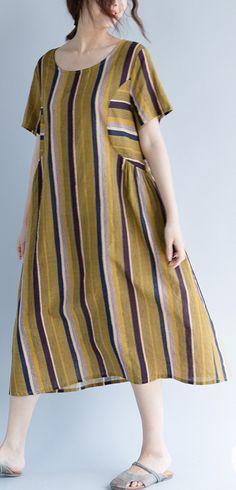 bdfc3d39e51b women yellow long cotton linen dress trendy plus size O neck traveling  clothing Fine striped short sleeve cotton linen caftans