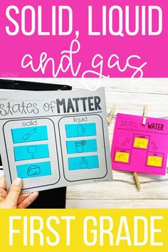 Easy and engaging ideas and science activities for teaching first grade students about states of matter: solid, liquid and gas. Science Lessons, Teaching Science, Science Activities, Teacher Hacks, Teacher Pay Teachers, States Of Matter, Organization Station, Teaching First Grade, Stem Projects