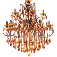 Gorgeous  Large Amber Crystals Chandelier,35''D x 45''H. #Unbranded #Contemporary