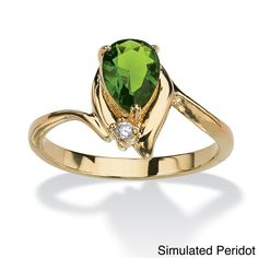 Palm Beach Jewelry PalmBeach Pear-cut Birthstone and Crystal Accent Ring 18k Gold-plated Color Fun (Size 6 - August - Simulated Peridot), Green