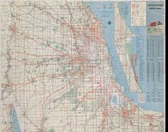 Chicagoland Road Map - 1934 #map #chicago