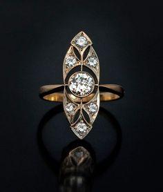 Art Deco Vintage Russian Diamond Ring