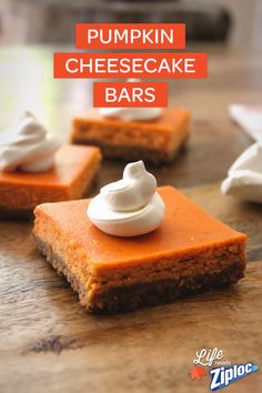 Time to toss out the pumpkin pie recipe! Love this pumpkin cheesecake bars dessert recipe for Thanksgiving or the winter holidays – plus they're easy to make-ahead and freeze. Just layer in a Ziploc® Freezer bag with wax paper.