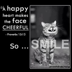 """A happy heart makes the face cheerful"" - Proverbs 15:13  So ... SMILE!"