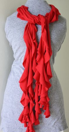 How to make a frilly scarf from a T-SHIRT!! Skip to 3:30 in the video for this exact scarf, or watch the whole thing to learn how to make 3 scarves!