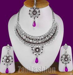 Enamel work Eye Catching Jewels S173 Silver Tone Purple Mumtaz Necklace Set
