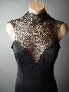Blk Victorian Goth Embroidery Lace High Neck Femme Fatale Sheath fp Dress L Victorian Goth, Black Choker, Dance Costumes, Pretty Outfits, Style Me, Evening Dresses, Gothic Fairy, High Neck Dress, Fabric Flowers