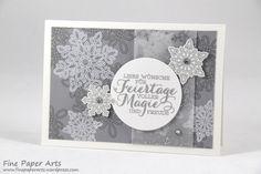 Stampin up - Weihnachtskarte, Christmas card, Stempelset Flockenzauber, Elementstanze Schneeflocken, Flurry of Wishes, Snow Flurry Punch - Fine Paper Arts