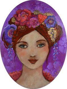 Tableau portrait féminin,acrylique sur toile .Nina en fleurs,femme romantique,cheveux fleuris : Peintures par pivoine