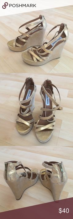 "Gold leather Steve Madden strappy wedges Gold leather Steve Madden strappy wedges. 5""  with 1 1/2"" platform. Great condition Steve Madden Shoes Platforms"