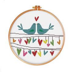 Bird Love cross stitch pattern
