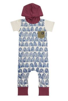 2c19fbd7587 Rags to Raches Short-Sleeved Hooded Romper in Blue and Burgundy
