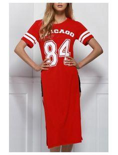 Round Neck Short Sleeve Letter Print High Slit Dress (Red)