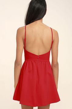 Oui Oui Red Backless Skater Dress 4