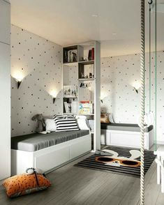 Kids shared bedroom - How to Complete the Small Bedroom with Twin Beds 14 Living Room Cozy Cozy Small Bedrooms, Cozy Living Rooms, Living Room Decor, Bedroom Decor, Bedroom Ideas, Master Bedroom, Cozy Bedroom, Bedroom Small, Budget Bedroom