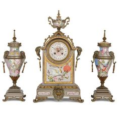 Antique French porcelain, gilt and silvered brass clock set Antique Clocks For Sale, Antique Mantel Clocks, Antique Stores, Antique Desk, Modern Decorative Objects, French Clock, Wall Clock Wooden, Classic Clocks, Unusual Clocks