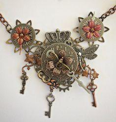 Steampunk Necklace - The Clock Arrangement - Clock Necklace