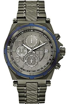 GUESS STEEL W0243G3,Men's Chronograph Sport,Cutting Edge,Dark-Tone,Stainless Steel,Screw crown,100m WR >>> Want to know more, click on the image.