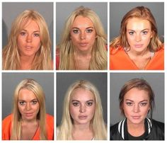 Actress Lindsay Lohan is shown in various booking photos provided by law enforcement agencies from over the years due to her numerous brushes with the law. Top row, from left: July 24, 2007,  Nov. 15, 2007 and July 20, 2010. Bottom, from left: Sept. 24, 2010, Oct. 19, 2011 and March 19, 2013.