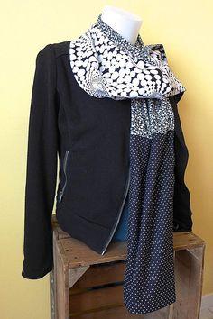 Etole - foulard réversible, patchwork graphique noir et blanc à motifs  géométriques pois et fleurs 39b2dfaad88