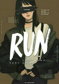 Bts / run / fanart by pepakomi Foto Bts, Bts Wallpapers, Fanart Bts, K Wallpaper, Velvet Wallpaper, Pastel Wallpaper, Bts Girl, Min Yoonji, Image Manga