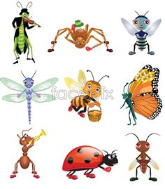 Cartoon image of insects vector