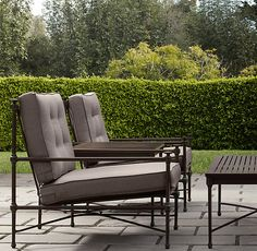 """B -- RH Catalina Lounge Chair Painted Metal   Ottomans   Restoration Hardware $700 Overall: 28""""W x 36""""D x 33""""H Colors only:  white, grey and bronze."""