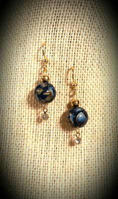 Blue Floral Japanese Tensha Bead Earrings with Dangling Swarovski Crystals on Dainty Gold-finished Brass Earrings. Beads are made by hand. All earrings ship free!  www.etsy.com/shop/flowerfelicity