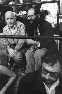 Jean Genet, Allen Ginsberg and Terry Southern (in foreground) ** Happy Birthday Ginsberg Queer Books, A Love Supreme, Allen Ginsberg, Beat Generation, Writers And Poets, American Poets, Jack Kerouac, Beatnik, Playwright