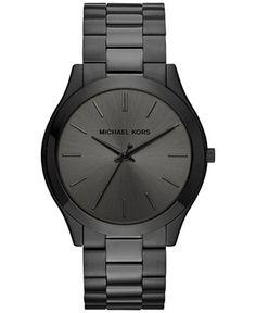 Michael Kors Men's Slim Runway Black Ion-Plated Stainless Steel Bracelet Watch 44mm MK8507