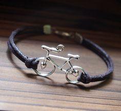Bike Bracelet Single Bicycle Bracelet Silver-Brown Leather Bracelet-Men Gift-Boy Bracelet-Best Friendship Jewelry Gift