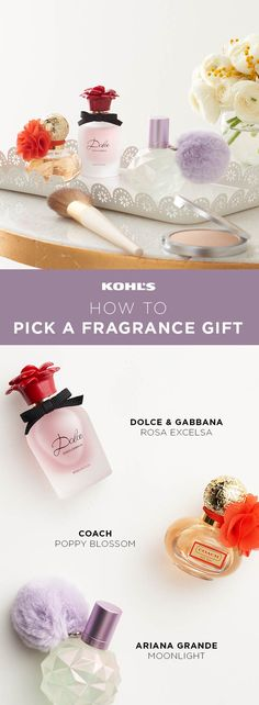 Here's how to pick perfume for women based on a couple key personality traits. For the woman who's intriguing and sophisticated, go with a floral and musky scent like Dolce & Gabbana's Rosa Excelsa. It combines layered notes of papaya, rose and sandalwood. For a youthful, spirited woman, get Coach Poppy Blossom. Its sweet, indulgent aroma features notes of bergamot, berries, freesia and brown sugar.Find the perfect Valentine's Day gift at Kohl's. #valentinesdaygiftideas #perfume