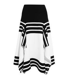 Rosetta Getty Asymmetric Striped Stretch-Jersey Midi Skirt White Skirts b0e6ff0a1
