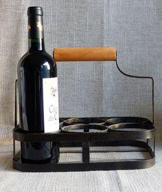 Vintage Wine Holder. French Vintage Metal Wine Holder. Bottle Carrier.Wine Carrier. 6 Bottle Carrier. Birthday Gift. French Vintage. by JadisInTimesPast on Etsy