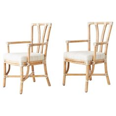For Sale on - Stylish pair of genuine McGuire organic modern armchairs. Constructed from thick bamboo rattan poles with cream colored leather rawhide laces on the exposed Wicker Armchair, Wicker Lounge Chair, Modern Armchair, Natural Furniture, Rattan Furniture, Furniture Design, Dining Chairs For Sale, Mid Century Dining Chairs, Womens Office Decor