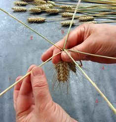 A little seasonal decoration and its tutorial - Marianne's - Straw Weaving, Weaving Art, Basket Weaving, Nifty Crafts, Diy And Crafts, Corn Dolly, Straw Art, Finger Weaving, Deco Champetre