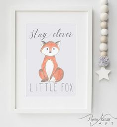 Woodland Little Fox Nursery Decor. Stay Clever Little Fox Wall Art Print to decorate your little one's nursery. This little woodland animal originaly painted with watercolor paint. Print on high quality canvas paper. More baby animals from RusticNatureArt  like Deer, Hedgehog, Owl, Raccoon, Squirrel. rusticnatureart.com/